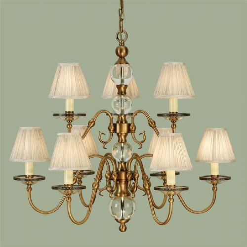 Tilburg Brass 9 Light, Beige Shades (Contemporary, Crystal, Modern Classic, Large Ch&elier) CA20P9BW